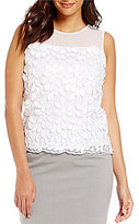 Calvin Klein Embroidered Lace Applique Chiffon Shell