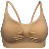 4How 2Pack Women's Nursing Bras Maternity Breastfeeding Brassiere Black+Beige Size L