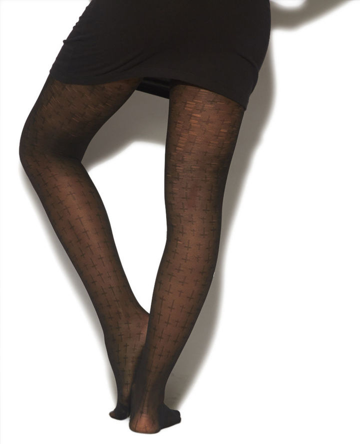 Wet Seal Jacquard Multi-Cross Tights