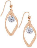 Charter Club Rose Gold-Tone Twisted Crystal Drop Earrings, Only at Macy's