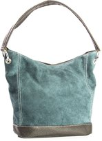 Big Handbag Shop Single Handle Real Italian Suede Leather Bag with Faux Trim (Teal)