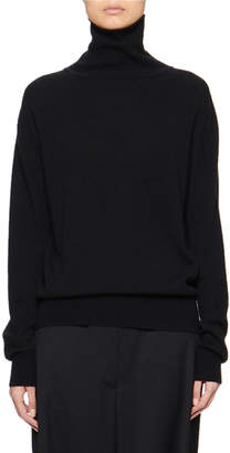 The Row Seiler Wool-Cashmere Turtleneck Sweater, Black