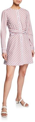 Derek Lam 10 Crosby Stripe Poplin Long-Sleeve Mini Shirt Dress