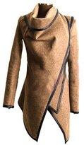 Aivtalk Women's Slim Fit Trench Coat Faux Leather Jacket Coat Outerwear M