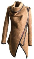 Aivtalk Women's Slim Fit Trench Coat Faux Leather Jacket Coat Outerwear XL