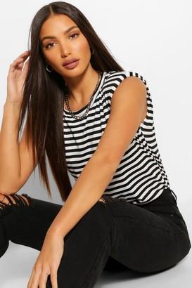 boohoo Tall Stripe Shoulder Pad Jersey T-Shirt