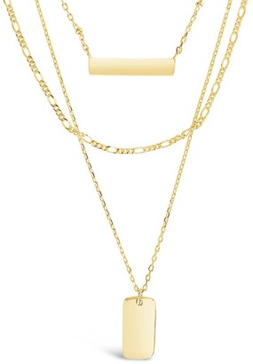 Sterling Forever 14K Gold Vermeil Bar Dog Tag Layered Necklace