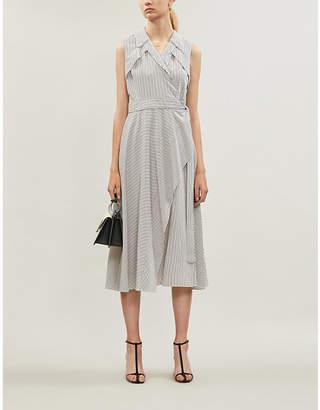 Diane von Furstenberg Charleigh striped woven midi wrap dress