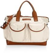 Brunello Cucinelli Leather-Trim Nylon Messenger Bag