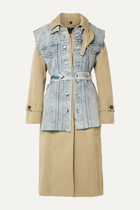 Proenza Schouler Convertible Cotton-gabardine And Denim Trench Coat - Army green