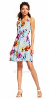 Adrianna Papell Criss Cross Floral Print Cocktail Dress