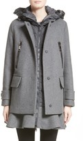 Moncler Women's Phemia Wool Blend Jacket With Removable Hooded Puffer Vest
