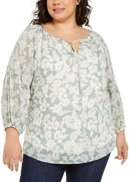 NY Collection Plus Size Printed Tie-Neck Peasant Top