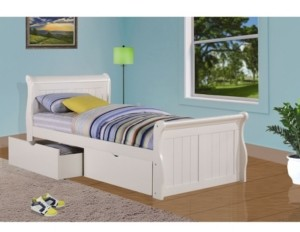 Donco Kids Twin Sleigh Bed with Dual Underbed Drawers