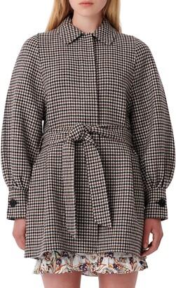 Maje Belted Houndstooth Coat