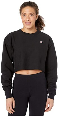 Champion LIFE Reverse Weave(r) Cropped Cut Off Crew (Navy) Women's Clothing