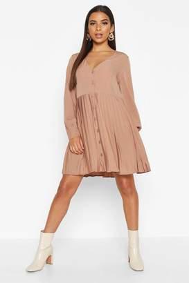 boohoo Woven Pleated Hem Button Through Smock Dress