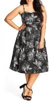 City Chic Plus Size Women's Mono Garden Fit & Flare Dress