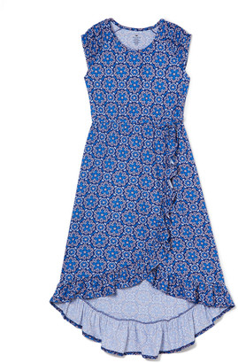 One Step Up Girls' Casual Dresses NAVY - Navy Abstract Floral Ruffle Wrap-Skirt Maxi Dress - Toddler & Girls