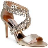 Badgley Mischka Grammy II Embellished Metallic Leather High Heel Sandals
