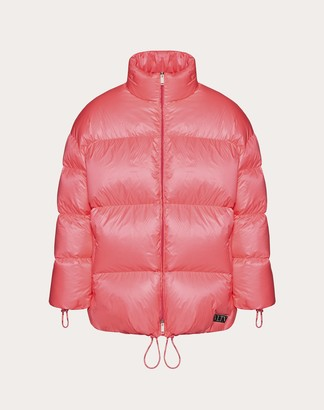 Valentino Oversize Duvet Couture Down Jacket Man Neon Pink/white Polyester 100% S