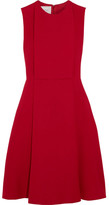 Valentino Pleated Wool And Silk-blend Crepe Dress - Red