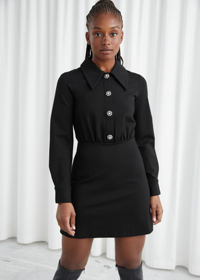And other stories Structured Diamante Button Mini Dress