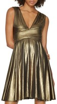 Halston Metallic V-Neck Dress - 100% Exclusive