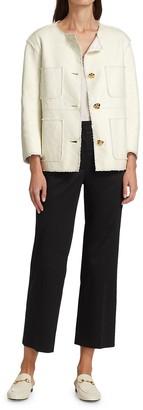 St. John Leather Bonded Basketweave Tweed Patch Pocket Jacket