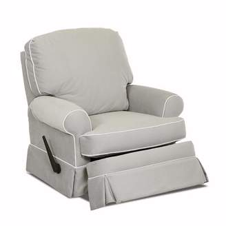 Wayfair Custom Upholstery Bingham Swivel Glider Recliner with Contrasting Welt Body Fabric: Sunbrella Canvas Spa, Piping Fabric: Spinnsol Optic Whit