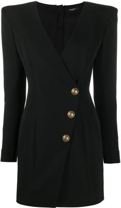 Balmain Wrap Button Detailed Dress