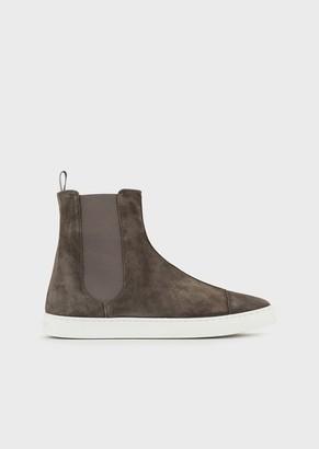 Giorgio Armani Beatle Boots In Calfskin Suede