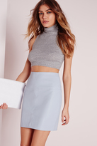 Missguided Faux Leather Mini Skirt Blue