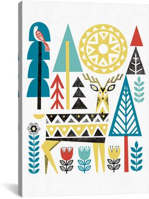 iCanvas icanvasart Folk Lodge (Deer Ii) Canvas Artwork By Michael Mullan