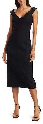 Theory Off-The-Shoulder Wool Sheath Dress