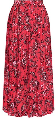 Erdem Nolana Pleated Floral-print Crepe Skirt - Red Print