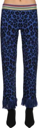 Alanui Leopard Jacquard Wool Knit Pants