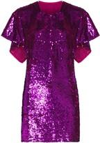 Ashish cape-effect sequinned mini dress