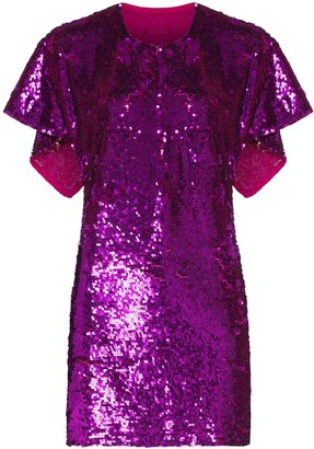 Ashish Cape-Effect Sequinned Mini Dress