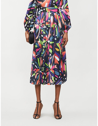 Olivia Rubin Esme abstract-print sequinned midi skirt