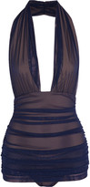 Norma Kamali Bill ruched tulle halterneck swimsuit