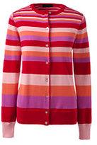 Lands' End Women's Petite Classic Supima Stripe Cardigan Sweater-Bright Scarlet Multi Stripe