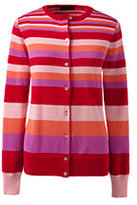 Lands' End Women's Tall Classic Supima Stripe Cardigan Sweater-Bright Scarlet Multi Stripe
