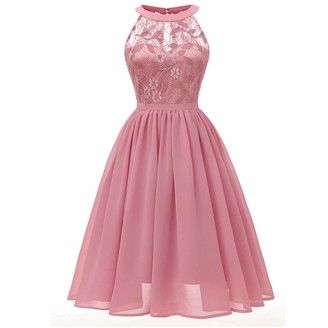 Moent Women Wedding Princess Dress Women's Round Neck Floral Lace Cocktail Neckline Party Aline Sleeveless Bridesmaid Vintage Swing Dresses(Pink-M)