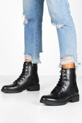 boohoo Croc Panel Cleated Sole Hiker Boots