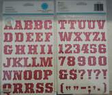 Martha Stewart 8036 Pink Glitter Alphabet 1 - 2sheets = 72pc - Pkg 10x5