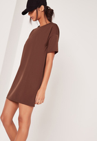 Missguided Scuba T-Shirt Dress Brown
