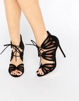 Faith Lana Black Ghillie Heeled Sandals