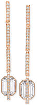 Swarovski Rose Gold-Tone Long Octagon Crystal and Pavé Linear Drop Earrings