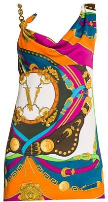 Versace Rodeo Pop Asymmetric Satin Mini Dress